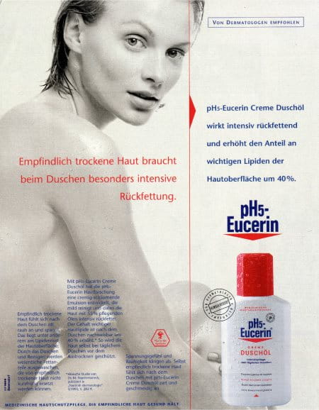 Print advertisement for Eucerin pH5 Shower Oil in 1995
