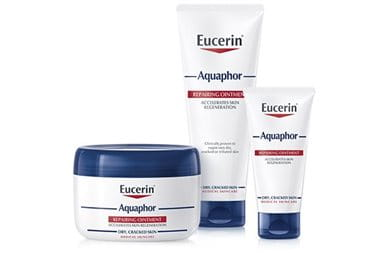 After laser treatment care: Eucerin Aquaphor