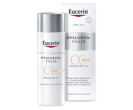 Anti-ageing CC cream to even pale skin tonesEucerin Hyaluron-Filler CC Cream Light SPF 15
